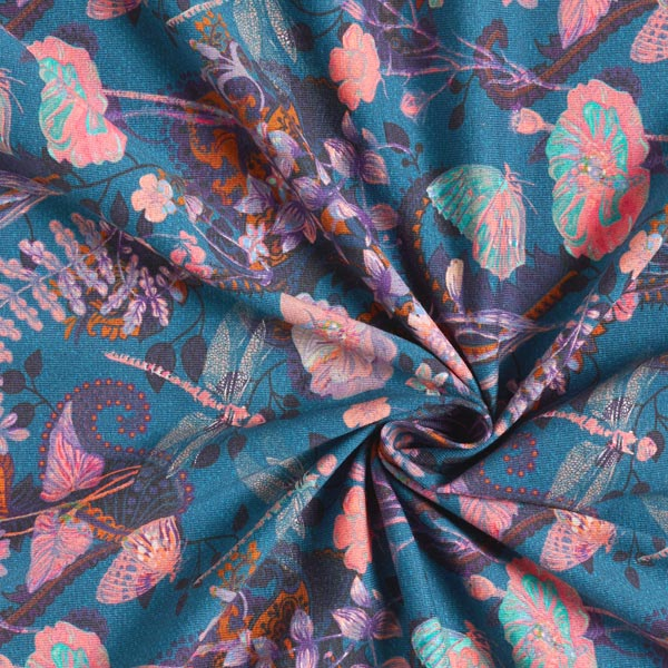 Jersey de coton bio Libellules & Fleurs – pétrole