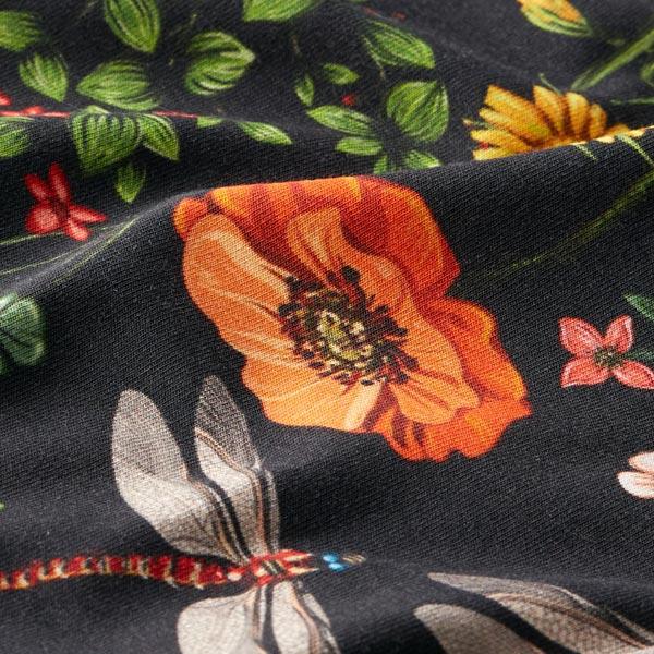 Jersey de coton bio Champs de libellules – noir