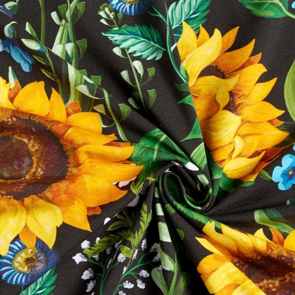 Jersey de coton bio Tournesols – noir