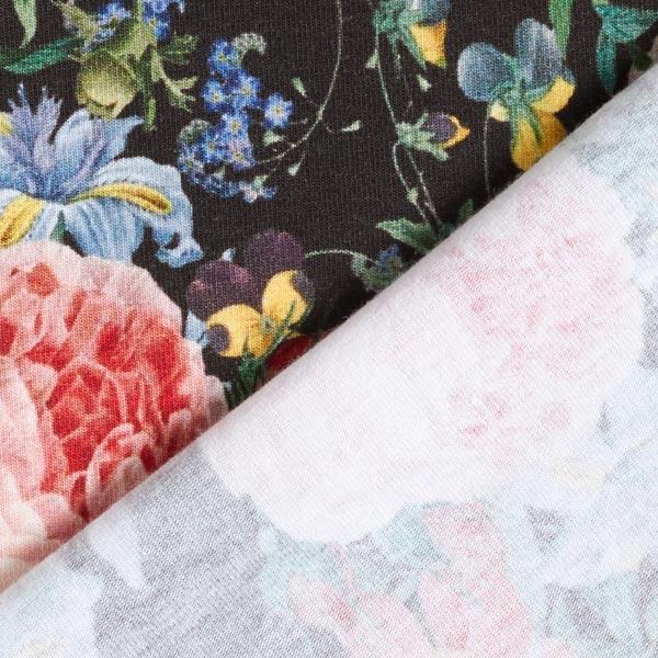 Jersey de coton bio Rêve floral – noir