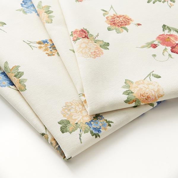 Tissu de décoration Semi-panama Petites fleurs – bleu