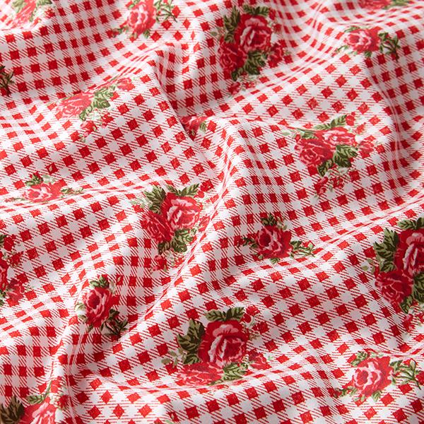 Satin de coton Roses sur carreaux – rouge/blanc