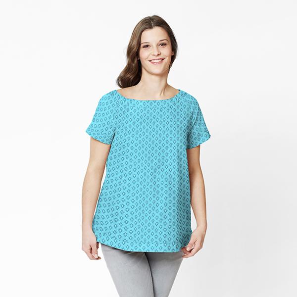 Satin de coton Ornements – bleu turquoise