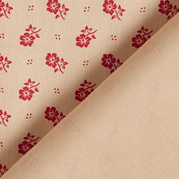 Satin de coton Imprimé floral – beige/rouge bordeaux