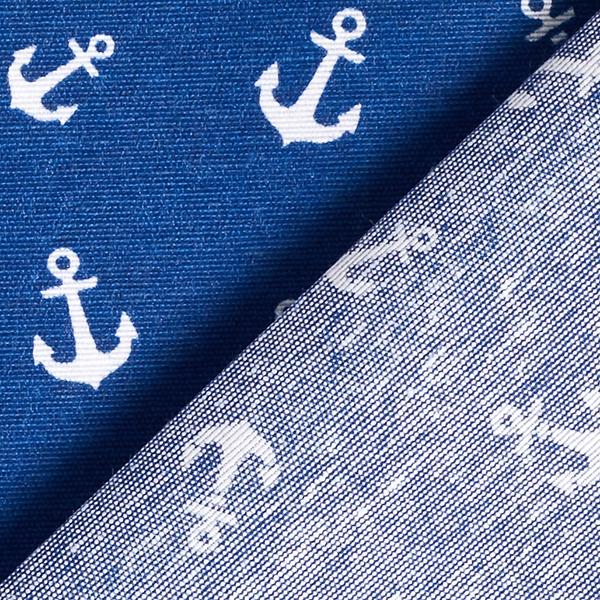 Tissu de décoration revêtu Ancre – bleu marine