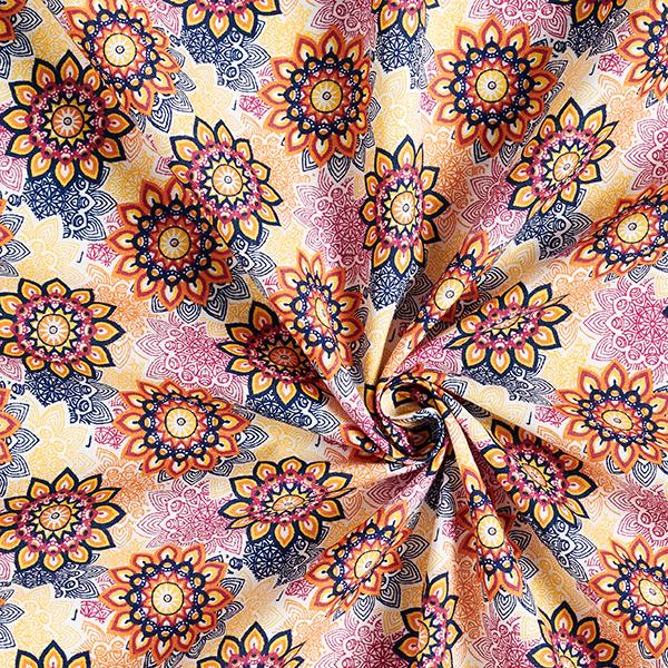Tissu en coton Cretonne Mandala Fleurs – orange