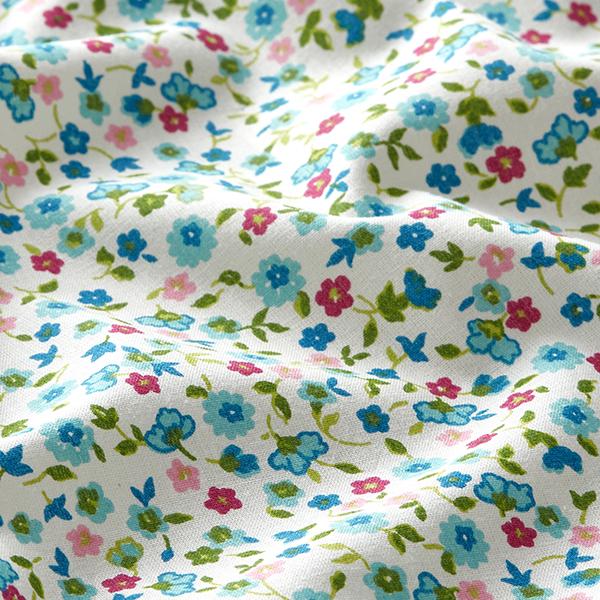 Tissu en coton Cretonne Petites fleurs – bleu clair