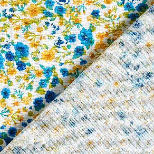 Tissu en coton Cretonne Mille-fleurs – moutarde/bleu