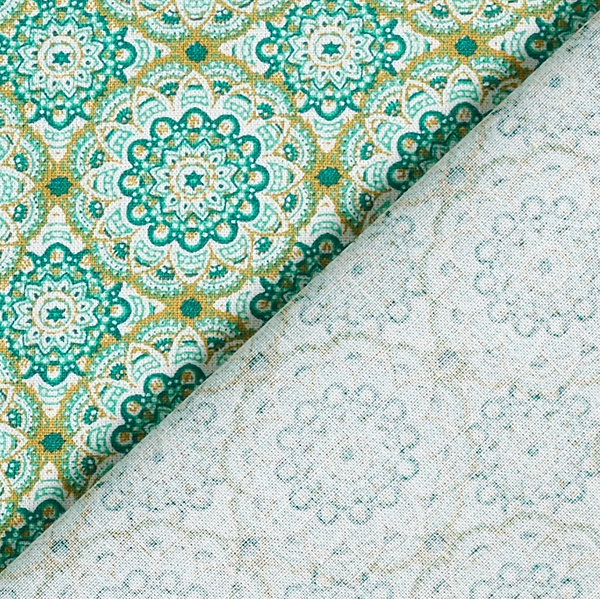 Tissu en coton Cretonne Mandala rétro – vert