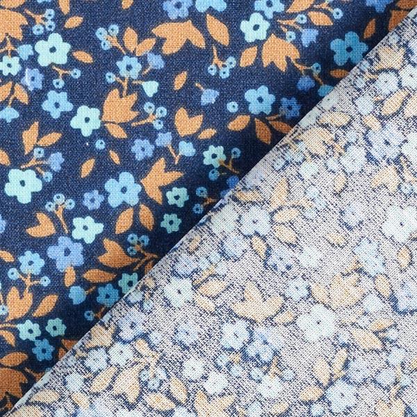 Tissu en coton Cretonne Millefleurs – bleu marine