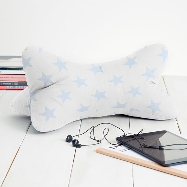 Tissu de décoration Canvas Étoiles – blanc/bleu clair