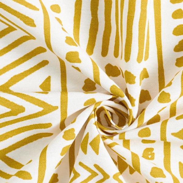 Tissu de décoration Canvas Ethno – moutarde/blanc