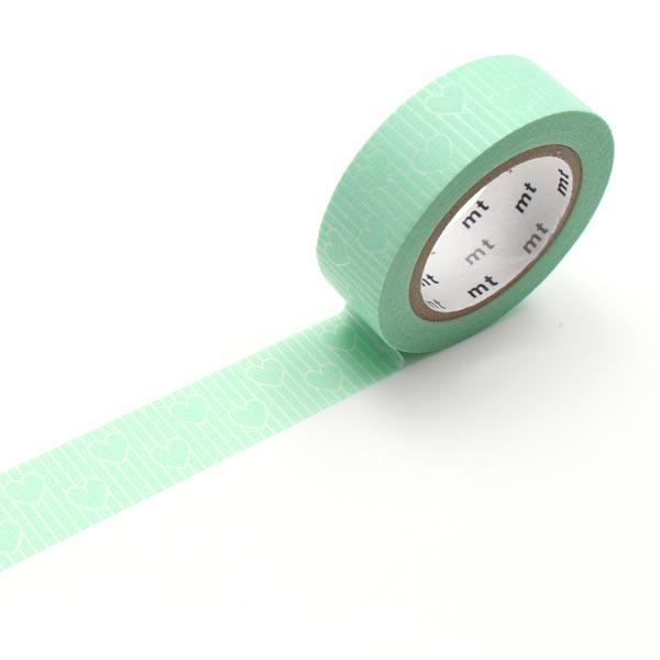Masking Tape Cœurs Rayures – vert menthe