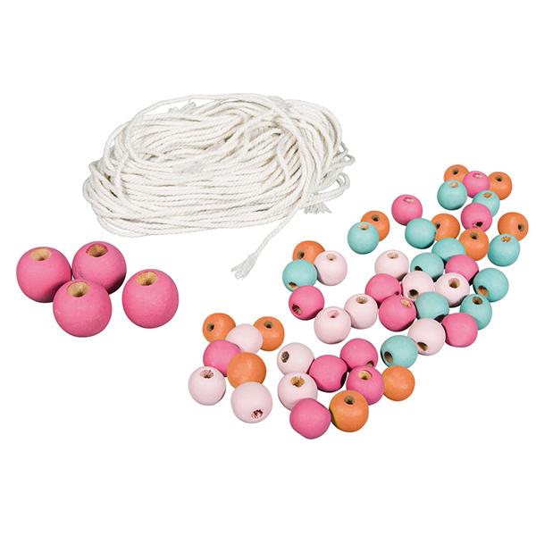 Perles en bois et fil: Macramé