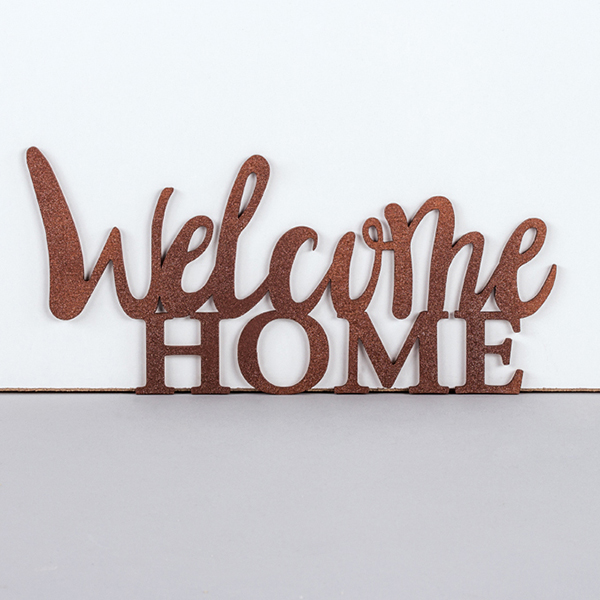 "Ecriture en bois ""Welcome home"""