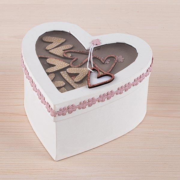 Papier mâché Boite cadeaux avec couvercle à secouer Cœur | Rayher – blanc