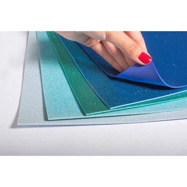 Moosgummi Platten Glitter, selbstklebend [ 5 Stück ]   Rayher – blau/türkis