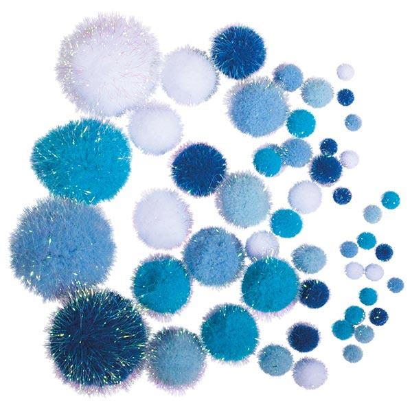 Métallisé Pompon [ 50 Pièces ] | Rayher – bleu/blanc