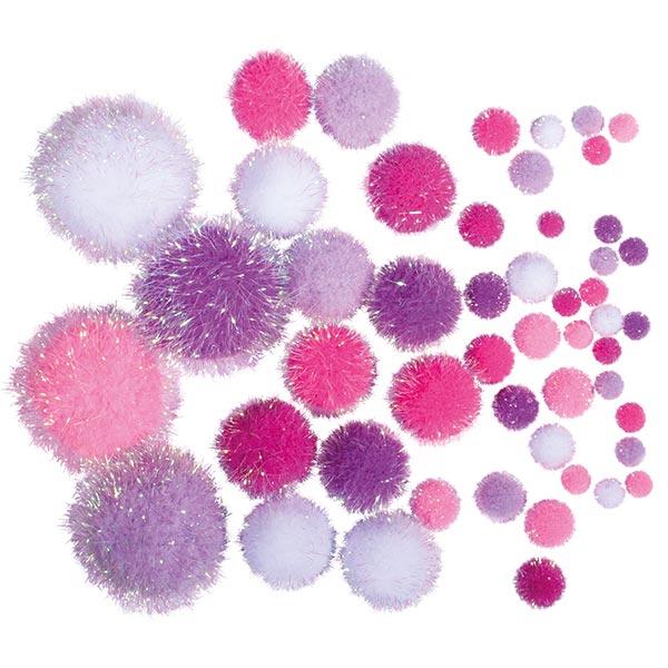 Metallic Pompons [ 50 Stück ] | Rayher – pink/weiss