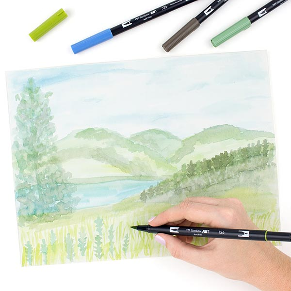 ABT Dual Brush Pen aquarelle Couleurs primaires Set [ 12 Pièces ] | Tombow