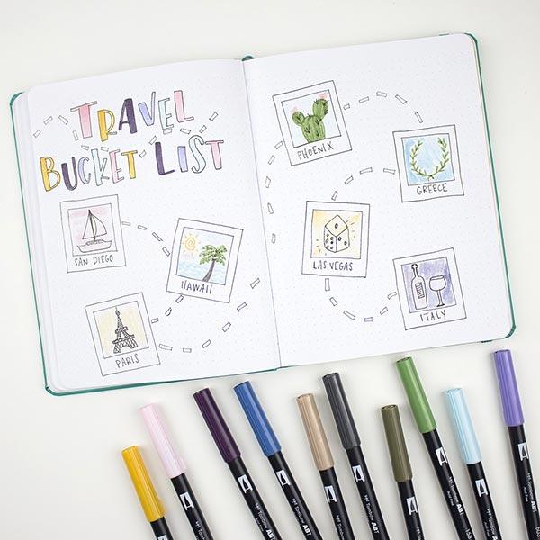 ABT Dual Brush Pen Aquarell Pastellfarben Set [ 12 Stück ] | Tombow