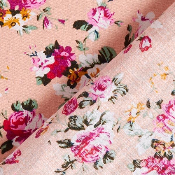 Popeline coton Petits rinceaux de roses – rose/baies