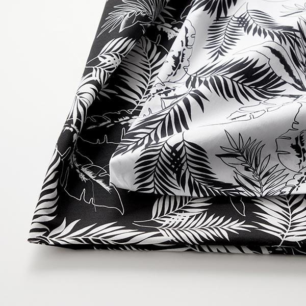 Popeline coton Feuilles de palmier – noir/blanc