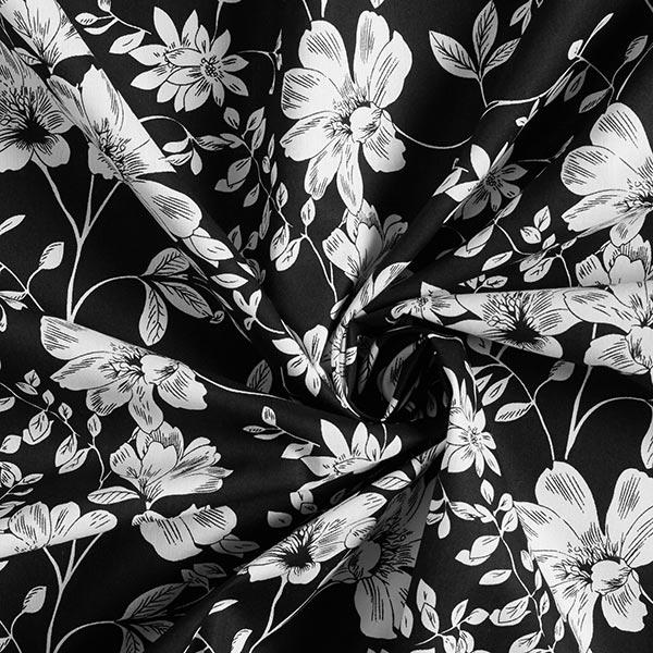 Popeline coton Branches de fleurs – noir/blanc