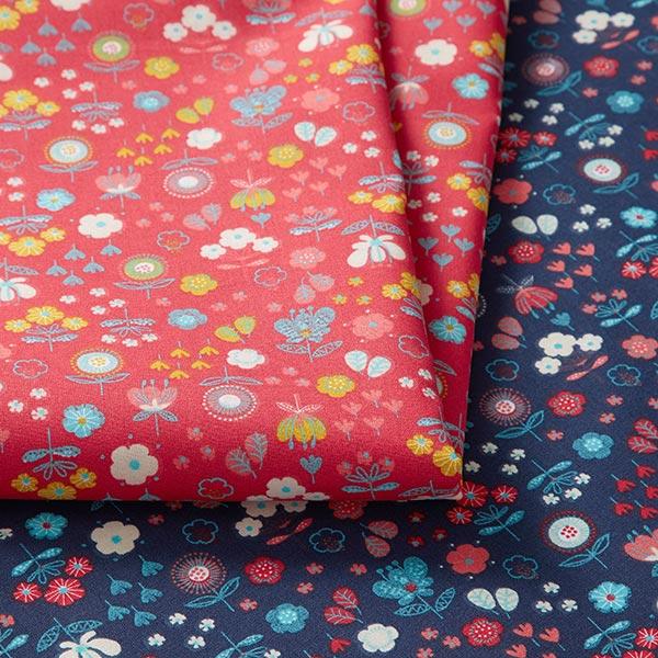 Tissu en coton cretonne Fleurs – rouge