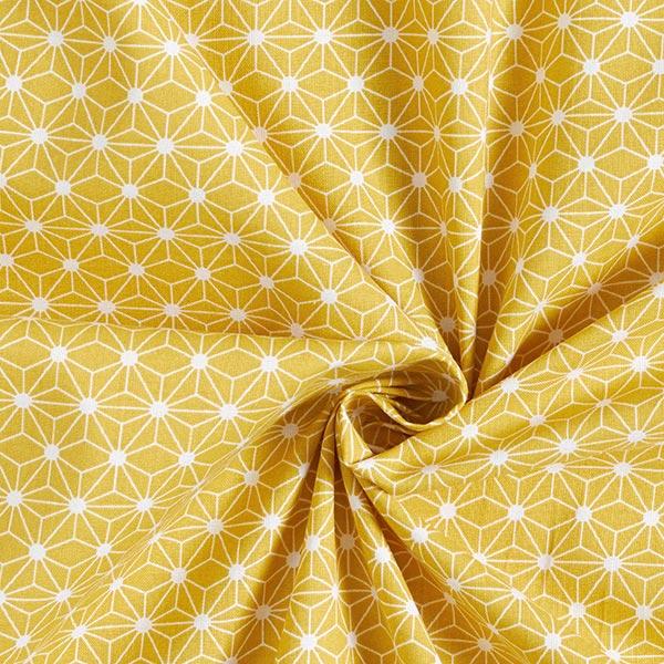 Baumwollstoff Cretonne kleiner grafischer Stern – senf