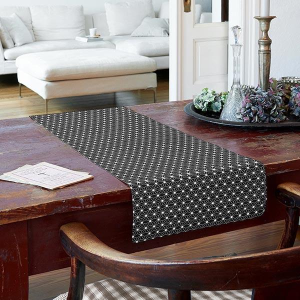 Tissu en coton cretonne Étoile graphique – noir