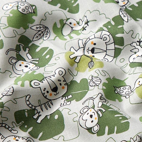 Tissu en coton Cretonne  Animaux de la jungle – gris/vert