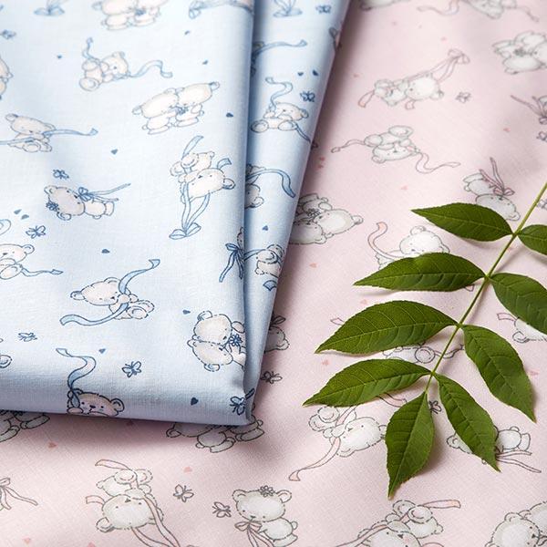 Tissu en coton Cretonne  Ourson nœud – bleu