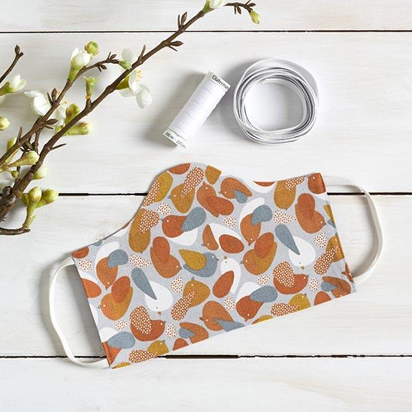 Tissu en coton Cretonne Oiseaux – orange/gris