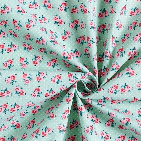 Tissu en coton cretonne Petites roses – vert menthe