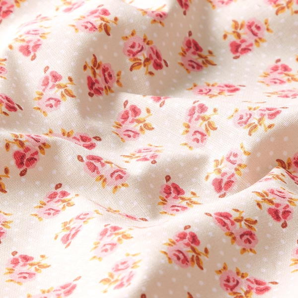 Tissu en coton cretonne Petites roses – beige
