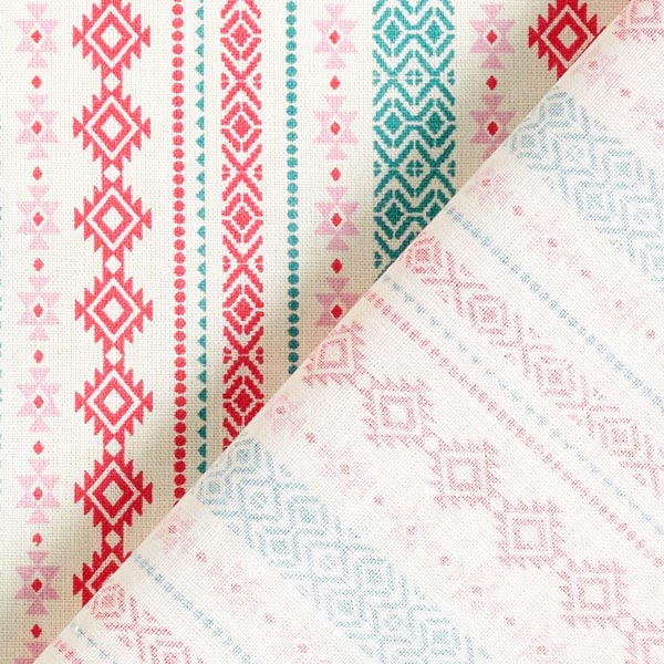 Tissu en coton cretonne Ethno – vert menthe/rose