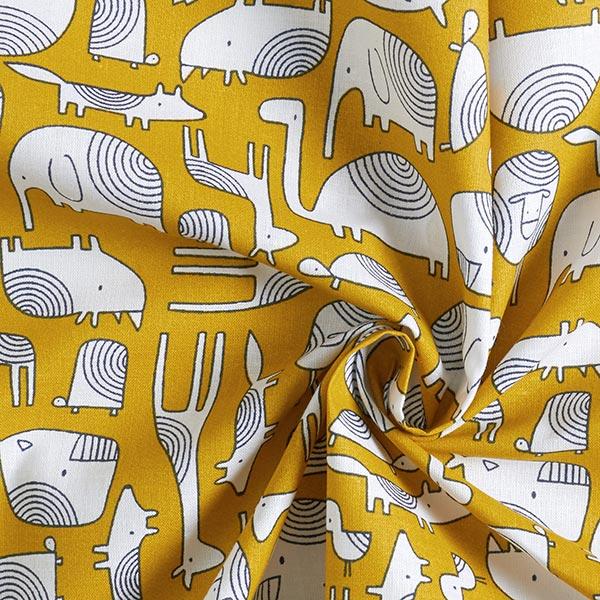 Tissu en coton Cretonne  Animaux Scandi – moutarde