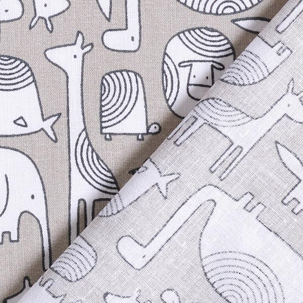 Tissu en coton Cretonne  Animaux Scandi – gris