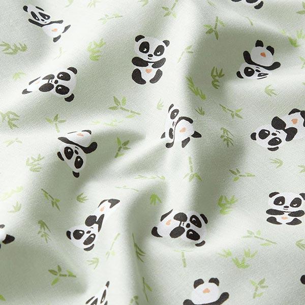 Tissu en coton Cretonne Panda câlin – vert