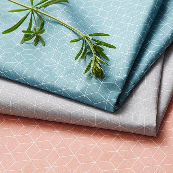 Tissu en coton Cretonne  Cube – corail