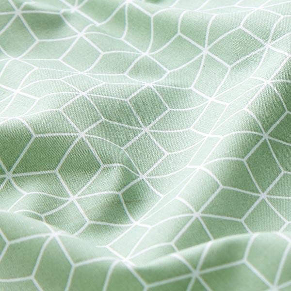 Baumwollstoff Cretonne Kubus – mintgrün