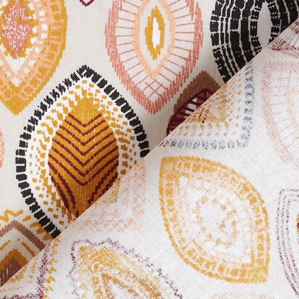 Tissu en coton Cretonne Feuilles ethniques – noir/moutarde