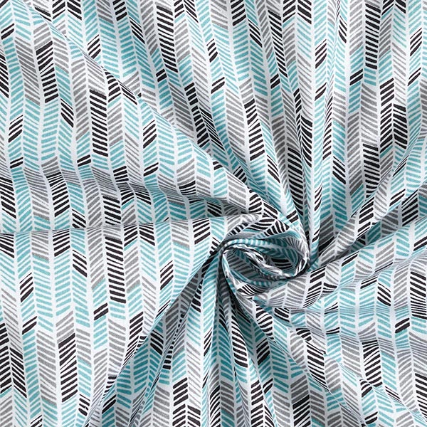 Tissu en coton Cretonne Flèches ethniques – gris/vert menthe