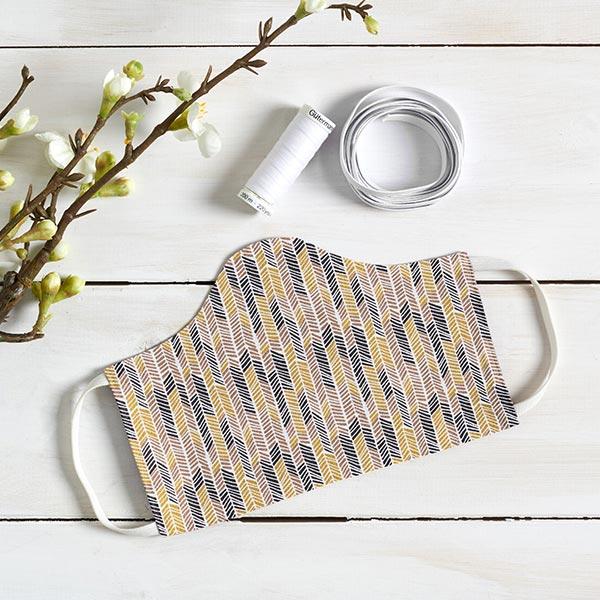 Tissu en coton Cretonne Flèches ethniques – noir/moutarde