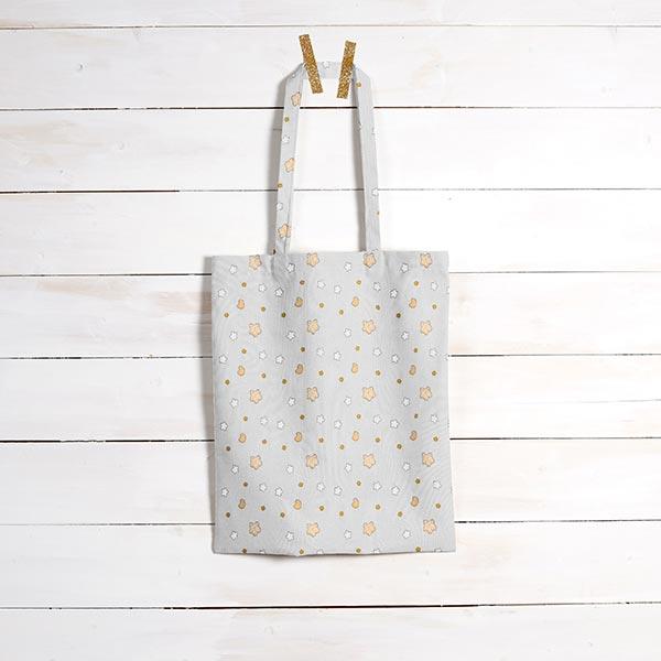 Tissu en coton Cretonne  Petites étoiles – gris/jaune