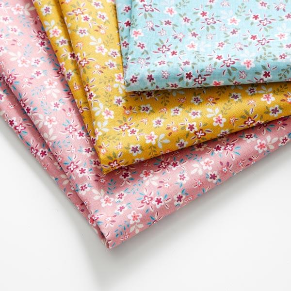 Tissu en coton cretonne Petites fleurs – vieux rose