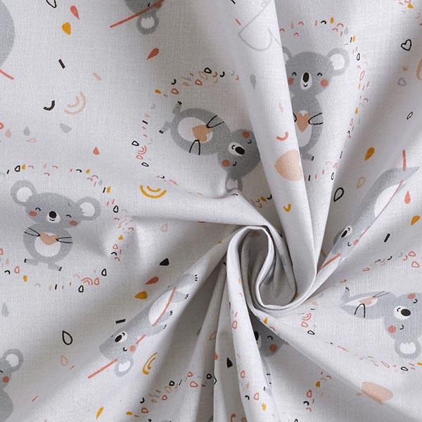 Tissu en coton Cretonne  Koalas câlin – gris