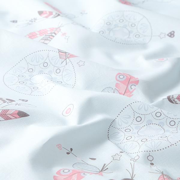 Tissu en coton Cretonne Plumes et Mandala – bleu