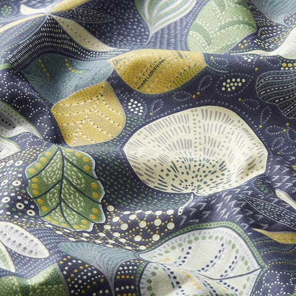 Tissu en coton Cretonne Feuilles – navy